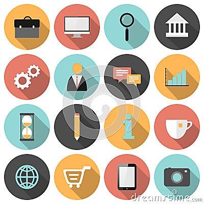 Free Flat Round Business And Marketing Web Icons Set Stock Images - 49519624