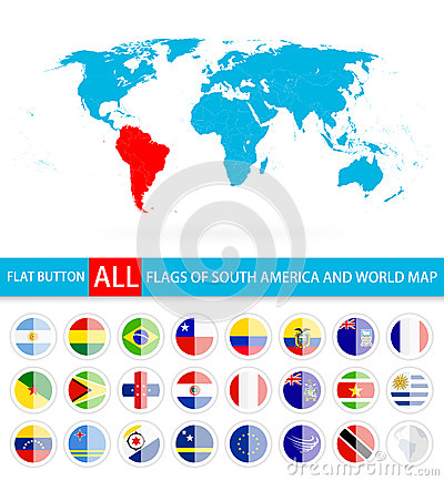 Flat round flags of south america complete set and world map cartoon flat round flags of south america complete set and world map cartoon vector gumiabroncs Choice Image