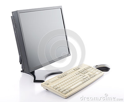 Flat screen LCD monitor with keyboard and mouse