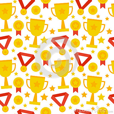 Free Flat Seamless Pattern Sport Competition Trophy Winning Stock Image - 71169621