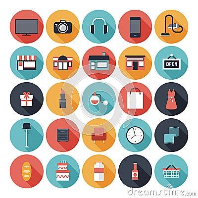 Free Flat Shopping Icons Set Stock Photo - 34326310