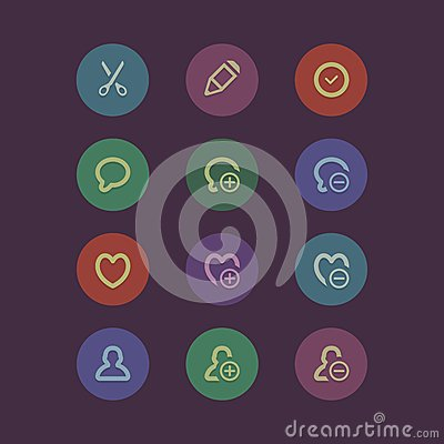 Flat social media and marketing icons
