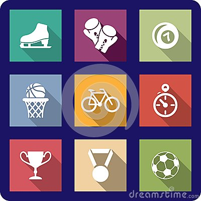 Flat sporting icons set