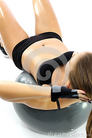 flat stomach exercises on the ball stock photo  image