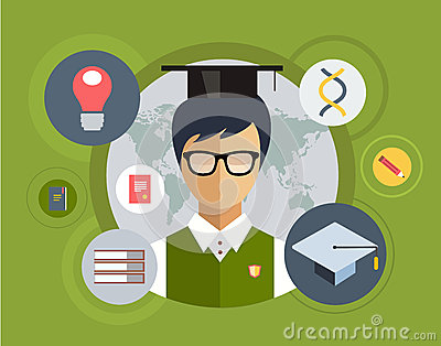 Flat student for school vector illustration Vector Illustration