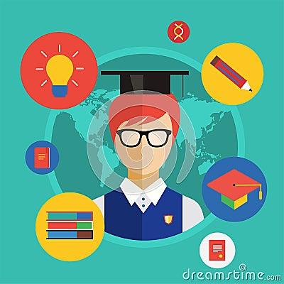 Flat student for school vector illustration