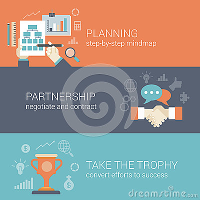 Free Flat Style Business Planning, Partnership And Success Concept Stock Photography - 47155952