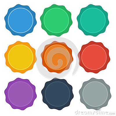 9 Flat Style design Seal / Badge Buttons