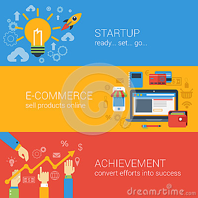 Free Flat Style E-commerce Business Startup Infographic Concept Stock Photos - 47155773