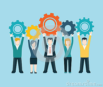 Flat style modern business people turn up cog wheel concept Vector Illustration