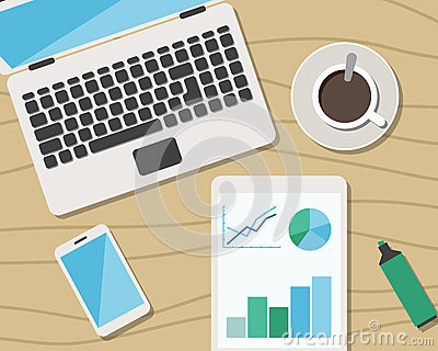Flat Style Modern Design of Office Workplace Vector Illustration