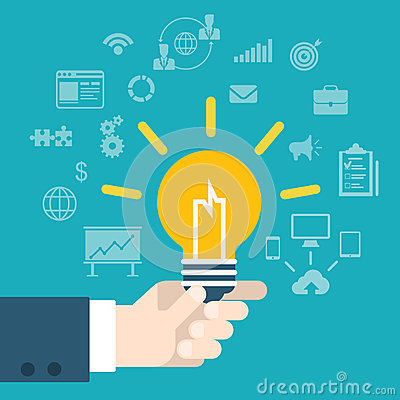 Free Flat Style Modern Idea Innovation Hand Holding Lamp Infographic Royalty Free Stock Photography - 47154527