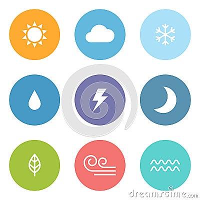 Free Flat Style Weather Icons Royalty Free Stock Image - 31748776