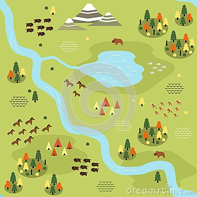 Free Flat Taiga Map Pattern Royalty Free Stock Images - 123720189