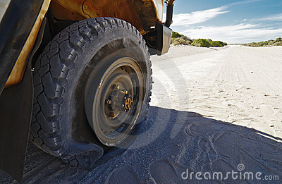 Flat Tire On Off-Road Vehicle