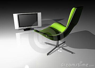 Flat TV - LCD and seat