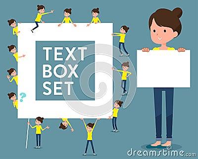 Flat type Bun hair mom_text box Vector Illustration