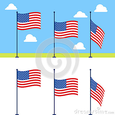 Free Flat USA Flags Vector Set Royalty Free Stock Photography - 71538377