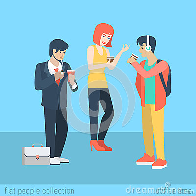 Free Flat Vector Casual People Drink Coffee And Smoking Cigarette Stock Images - 59050014