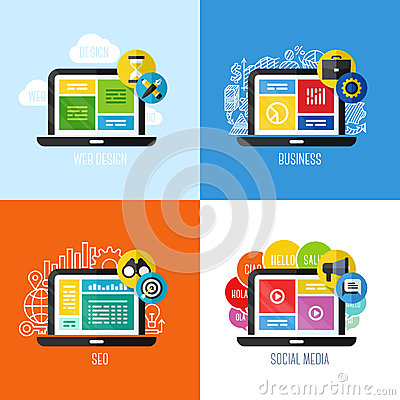 Free Flat Vector Concepts Of Web Design, Business, Social Media, SEO Stock Photos - 42341353