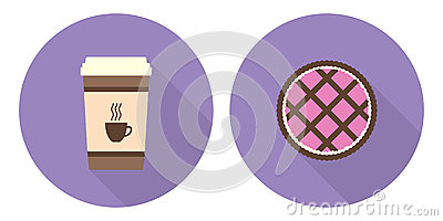 Flat vector cup of coffee and pie Vector Illustration