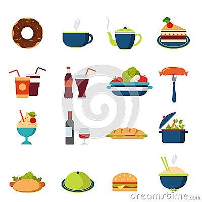 Free Flat Vector Food Icons: Menu, Drink, Restaurant, Burger, Bakery Royalty Free Stock Photography - 59050537