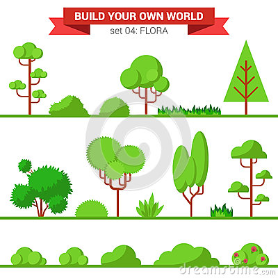 Flat vector green flora collection plant tree bush - Create your world ...