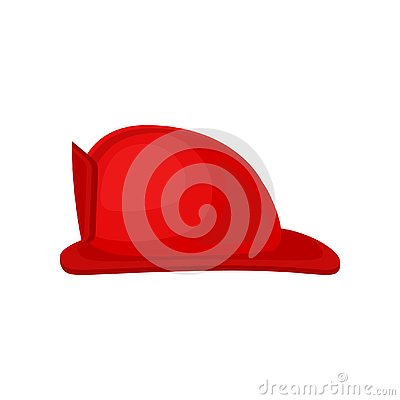 Free Flat Vector Icon Of Bright Red Fire Helmet. Solid Headgear. Personal Protective Equipment. Hard Hat For Firefighter Stock Image - 130250591