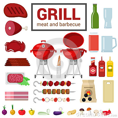 Free Flat Vector Icon Of Grill Meat Barbecue BBQ Cooking Outdoor Royalty Free Stock Photo - 59052455