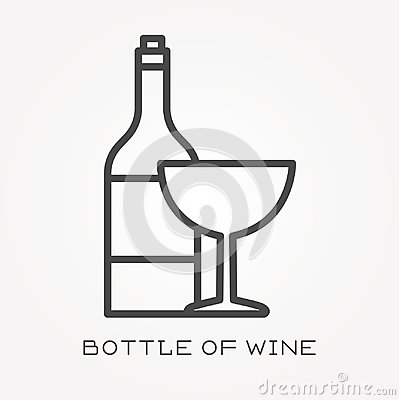Free Flat Vector Icons With Bottle Of Wine Royalty Free Stock Image - 118202676