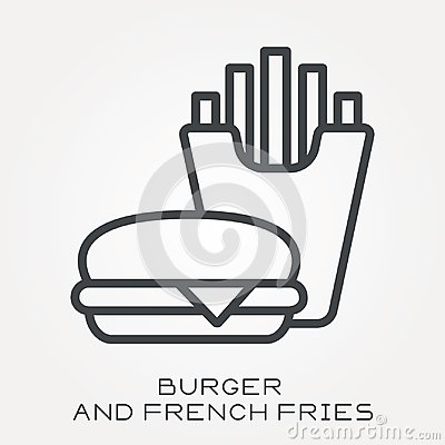 Free Flat Vector Icons With Burger And French Fries Royalty Free Stock Photos - 117511728
