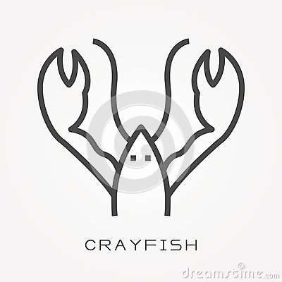 Free Flat Vector Icons With Crayfish Stock Images - 122251144
