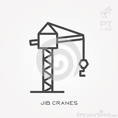 Free Flat Vector Icons With Jib Cranes Stock Images - 131614284