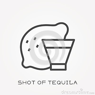 Free Flat Vector Icons With Shot Of Tequila Stock Photos - 118202663