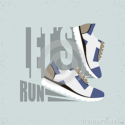 Free Flat Vector Illustration With Text - Let S Run. Running Shoes With Shadow. Ready Design For Sport Shop, Etc. Stock Photos - 68259453