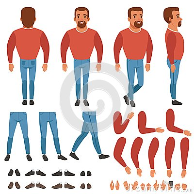 Free Flat Vector Of Bearded Man Constructor For Animation. Stock Images - 105313894