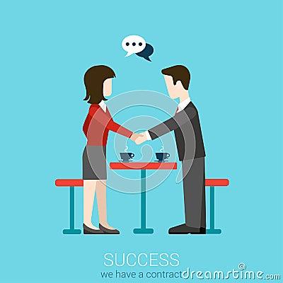 Free Flat Vector Partnership, Success And Handshake Contact Concept Stock Photos - 59049983