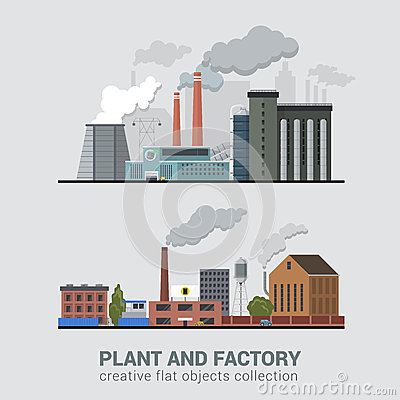 Free Flat Vector Pollution Heavy Industry, Plant, Factory Production Stock Photography - 59051212