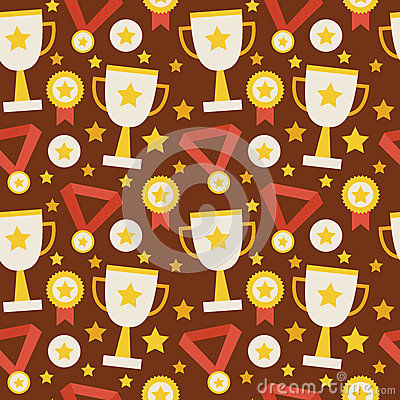 Free Flat Vector Seamless Pattern Sport Competition Trophy Winning Wi Stock Photo - 57375120