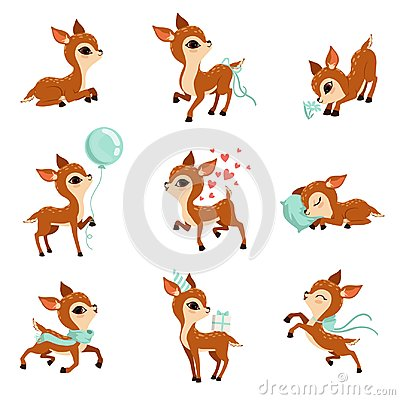 Free Flat Vector Set Of Cute Fawn In Different Actions. Cartoon Character Of Little Deer. Adorable Forest Animal. Graphic Royalty Free Stock Photo - 115780125