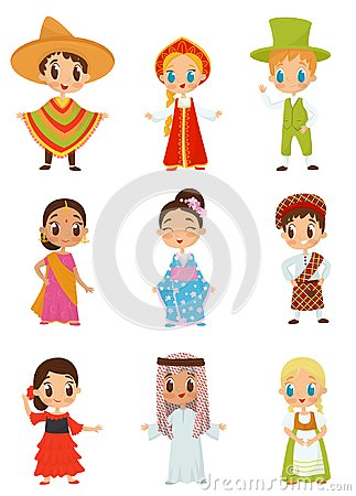 Free Flat Vector Set Of Little Kids In Different National Costumes. Boys And Girls Wearing Traditional Clothes Stock Image - 118431411