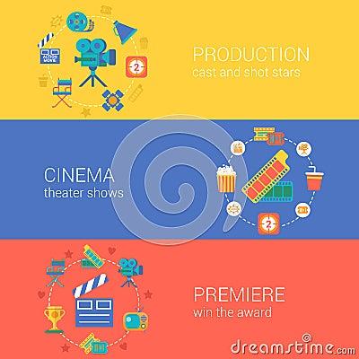 Free Flat Video Movie Production Cinema Design Icons Set Stock Photography - 45358282