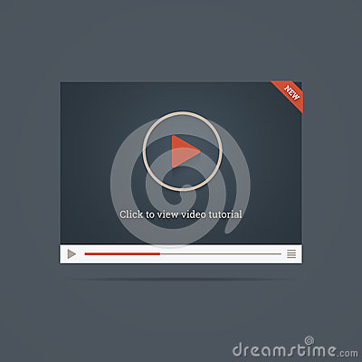 Flat video player template win new label.