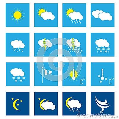 Free Flat Weather Icon Set Of 16 Royalty Free Stock Image - 33932396