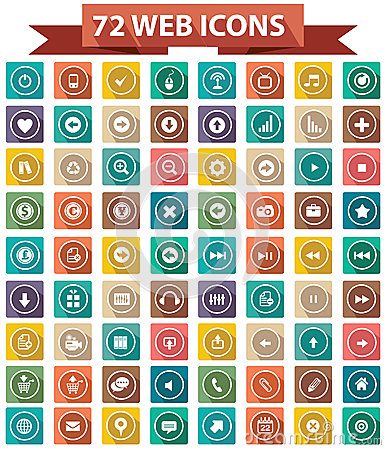 72 Flat Website Icons,Colorful version