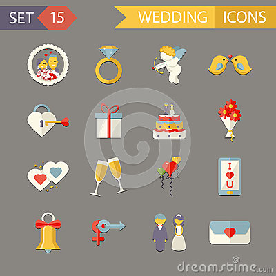 Free Flat Wedding Symbols Bride Groom Marriage Royalty Free Stock Photography - 41591377