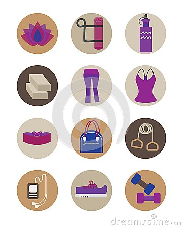 Free Flat Women Yoga Essential Accessories Icons Set Royalty Free Stock Image - 44042396