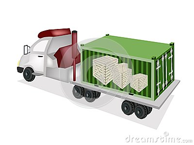 Flatbed Trailer Loading Wooden Crates in Cargo Con