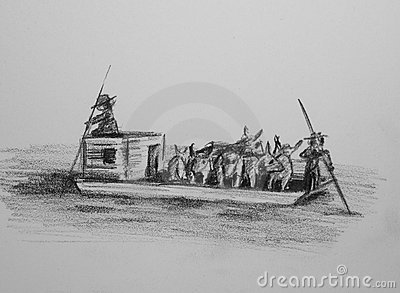 Flatboat with livestock