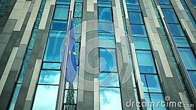 Flatternde Flagge der Europäischer Gemeinschaft mit gelben Sternen stock video